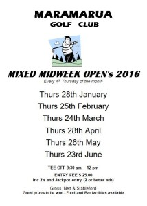 midweek open jan 2016