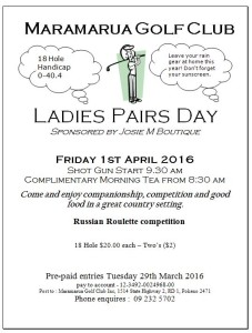 women's 18 hole pairs day 2016